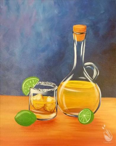 Tequila on the rocks painting