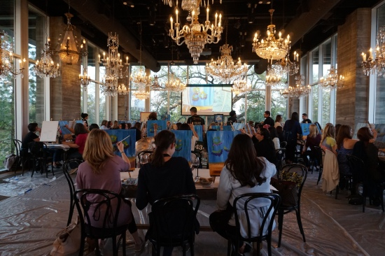 Painting Under the Chandeliers at The Dunlavy Houston
