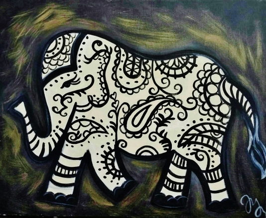 black-and-gold-paisley-elephant