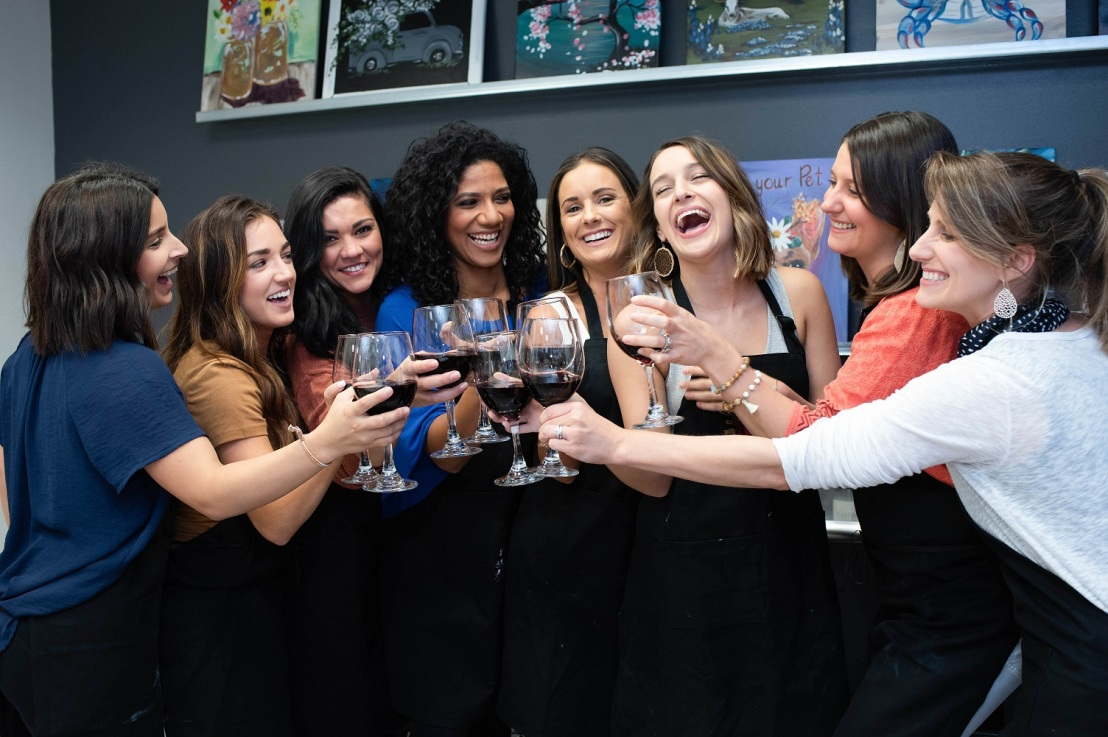 Un-wine-d with your girlfriends at a paint pARTy.